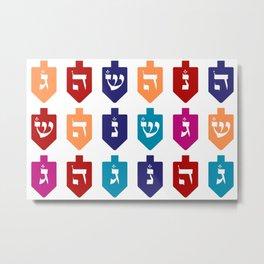 Colorful Hanukkah Dreidels with Hebrew Letters Jewish Festival of Lights Metal Print