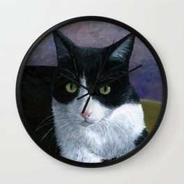 Cat 577 Tuxedo Cat Wall Clock