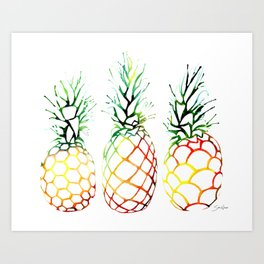 Retro Pineapples Art Print