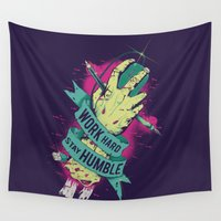 work hard Wall Tapestries featuring Work Hard by Akiwa
