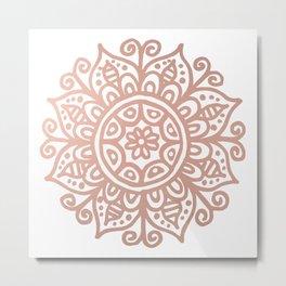 Rose Gold Floral Mandala Metal Print