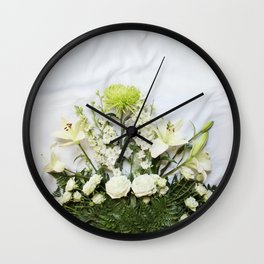 Green and Cream Flowers Wall Clock