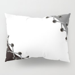 Lacing . Black , white and grey . Pillow Sham
