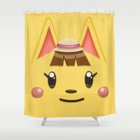 animal crossing Shower Curtains featuring Animal Crossing Katie by ZiggyPasta
