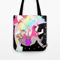 bee and puppycat Tote Bags featuring Puppycat Rainbow Fall by Beta PV