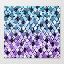 Purple Teal Mermaid Princess Glitter Scales #1 #shiny #decor #art #society6 Canvas Print