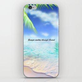 Escape reality through sound logo iPhone Skin