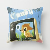 candy Throw Pillows featuring CANDY by Chris Arran