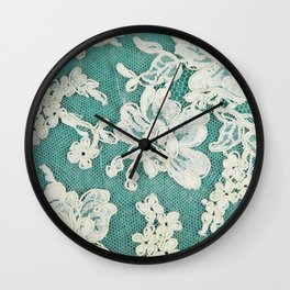 white lace - photo of vintage white lace Wall Clock