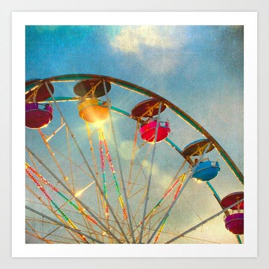 Light up the Sky carnival ferris wheel  Art Print
