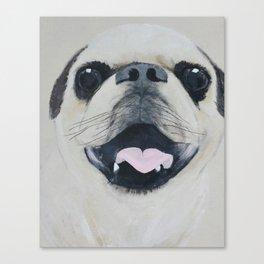 Pug Portrait - Original painting by Tracy Sayers Trombetta Canvas Print