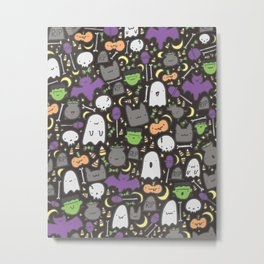 Kawaii Halloween - Black Metal Print
