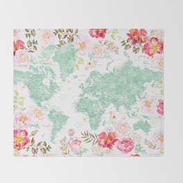 Mint green and hot pink watercolor world map with cities Throw Blanket