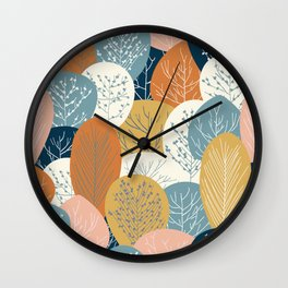 Forest Woodland Trees, Blue, Terracotta and Yellow, Floral Prints Wall Clock