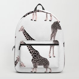 Cute Pink & Black Giraffe Animal White Design Backpack
