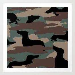Camo Weiner Dogg Art Print