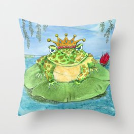 Frog King Throw Pillow