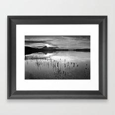 Calm At The Lake. At sunset.. Bw Framed Art Print