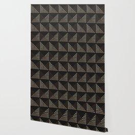 Layered Geometric Block Print in Chocolate Wallpaper