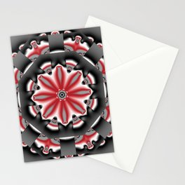 Floral pattern mandala in red, black and grey tones Stationery Cards