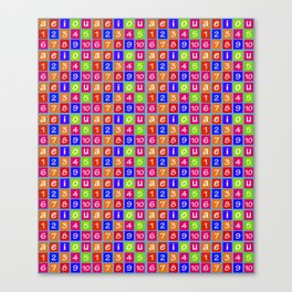 Numbers and Vowels Colorful Pattern Canvas Print