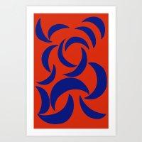 Many Moons - Red Art Print