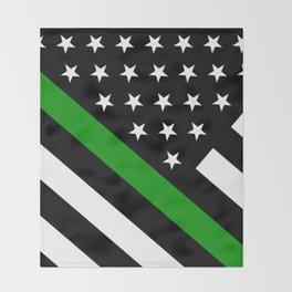 The Thin Green Line Flag Throw Blanket