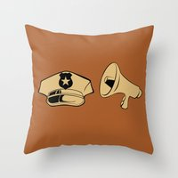 police Throw Pillows featuring Police Academy by FilmsQuiz