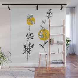 Wildflowers Circular Gold Ink Illustration Wall Mural