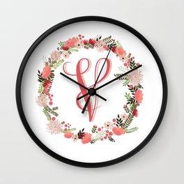 Personal monogram letter 'V' flower wreath Wall Clock