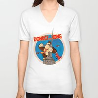 donkey kong V-neck T-shirts featuring Donkey King Kong by Vickn
