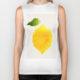 Geometric Watercolor Yellow Lemon Pixel Art Green Leaf Hard Edge Art Aztec Pattern Minimalist Mid Ce Biker Tank