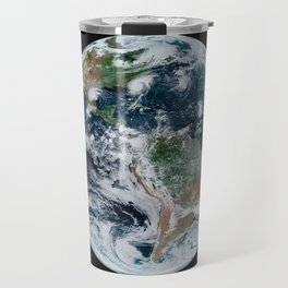 Four Tropical Hurricanes On Planet Earth from Space Satellite Photograph Travel Mug