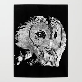 Wise Ol' Owl Black and White Poster