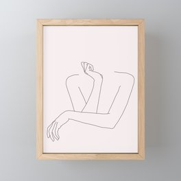 Woman's crossed arms line drawing - Anna Natural Framed Mini Art Print