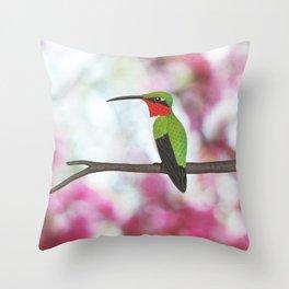 ruby throated hummingbird - male on pink bokeh Throw Pillow