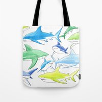 sharks Tote Bags featuring sharks by Kathryn Rickards