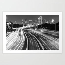 Dallas City Skyline at Night in Black and White Art Print