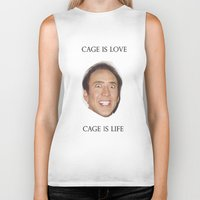 nicolas cage Biker Tanks featuring Cage is Love // Cage is Life by Jared Cady