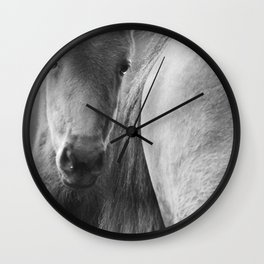 Original horses photo. Black & White, fine art, animal photography, landscape, b&w Wall Clock