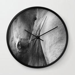 Original horses photo. Black & White, fine art, animal photography, landscape, b&w Wall Clock