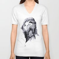 face V-neck T-shirts featuring Wild Rage by Philipp Zurmöhle