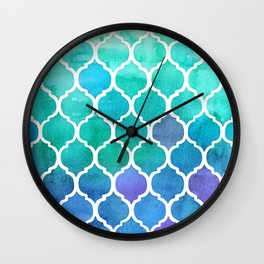 Emerald & Blue Marrakech Meander Wall Clock