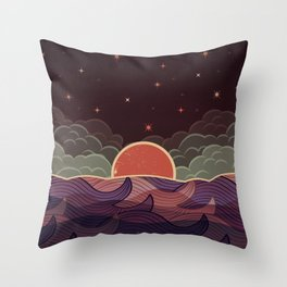 MOON WAVE NIGHT Throw Pillow