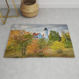 MICHIGAN LIGHTHOUSE AUTUMN UPPER PENINSULA GREAT LAKES LANDSCAPE Rug