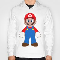 sticker Hoodies featuring Sticker Mario by Rebekhaart