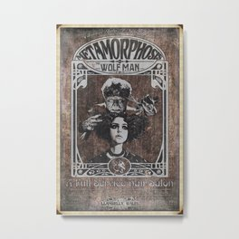 Metamorphosis by The Wolf Man: A Full Service Hair Salon (Aged Postcard) Metal Print