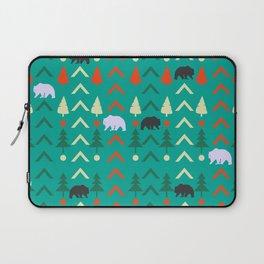 Winter bear pattern in green Laptop Sleeve