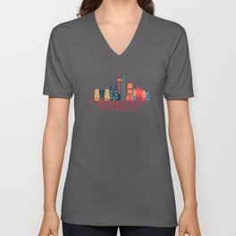 Cologne Weidenpesch Germany Skyline Unisex V-Neck