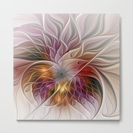 Colorful Abstract Flower Fractal Metal Print